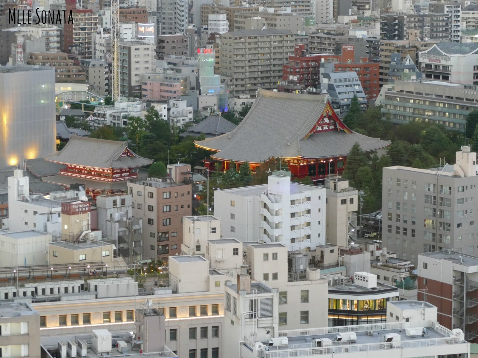 Temple Asakusa vu en haut de la Asahi Beer Tower.