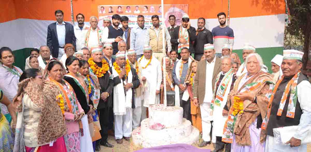 Faridabad's former MLA Anand Kaushik celebrates 132rd Foundation Day of All India Congress Party