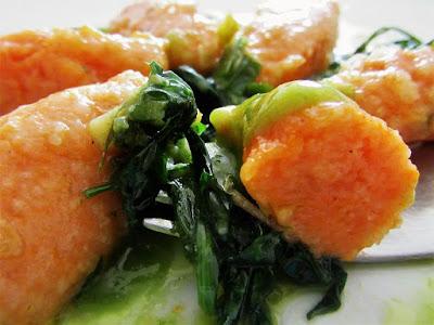 Pumpkin dumplings with wild herbs