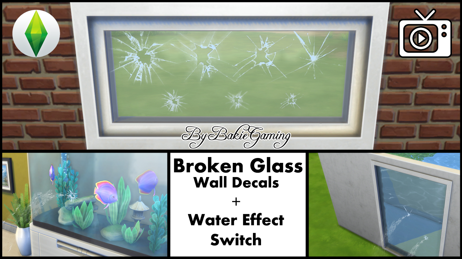 My sims 4 blog broken glass wall decal water effect for Broken glass mural