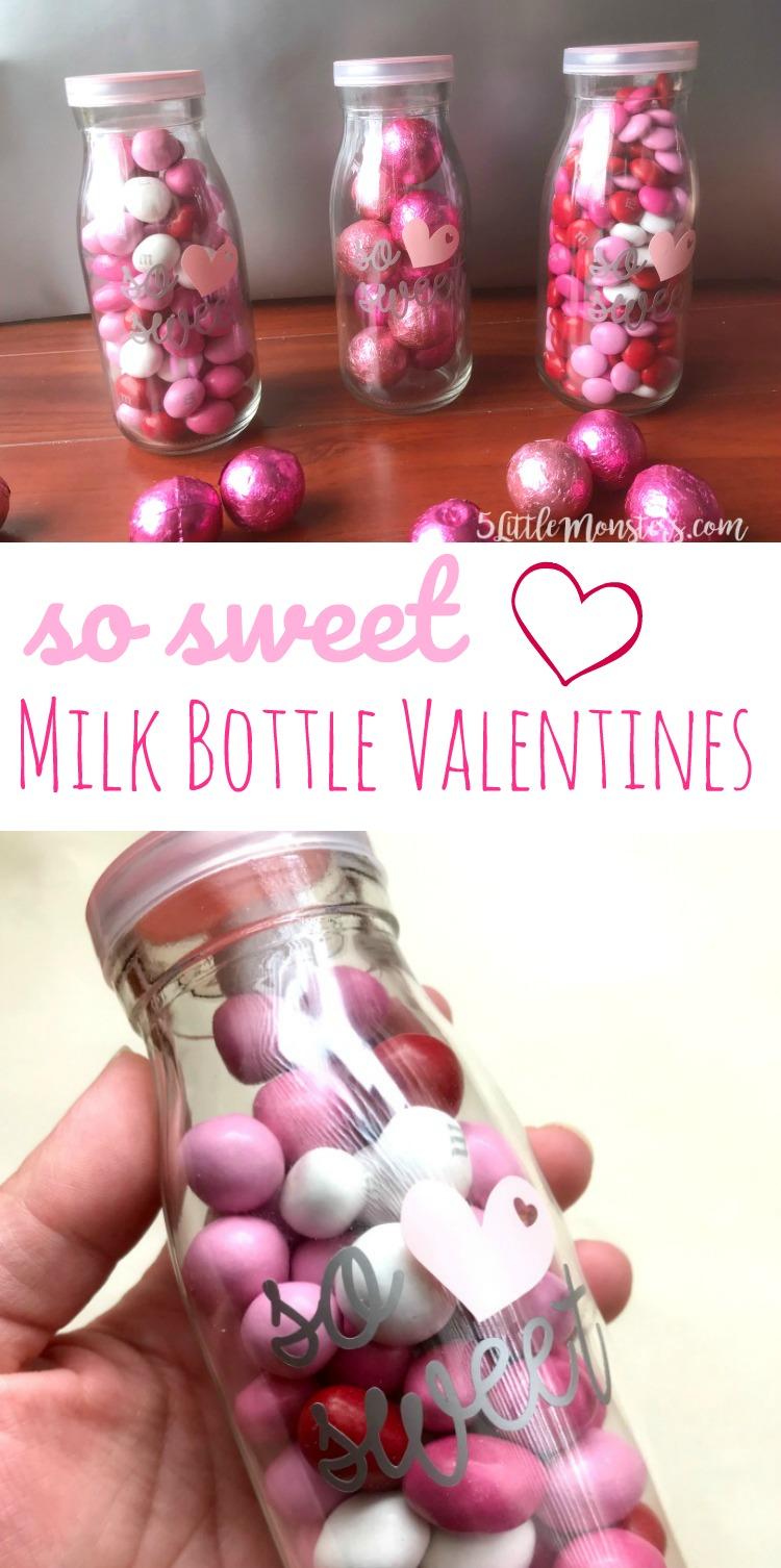 5 Little Monsters So Sweet Milk Bottle Valentines