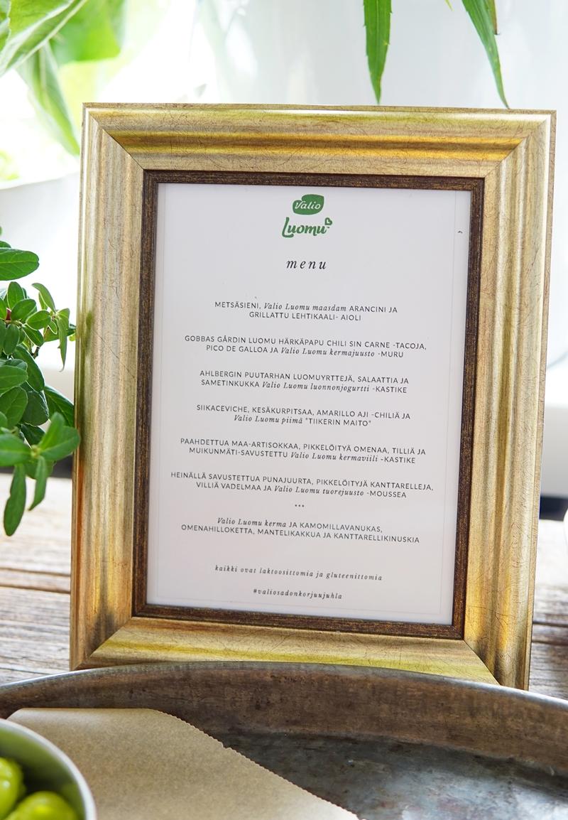 Valio luomu, sadonkorjuujuhla, menu