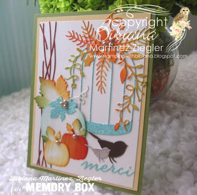 Fall bird cage card side view