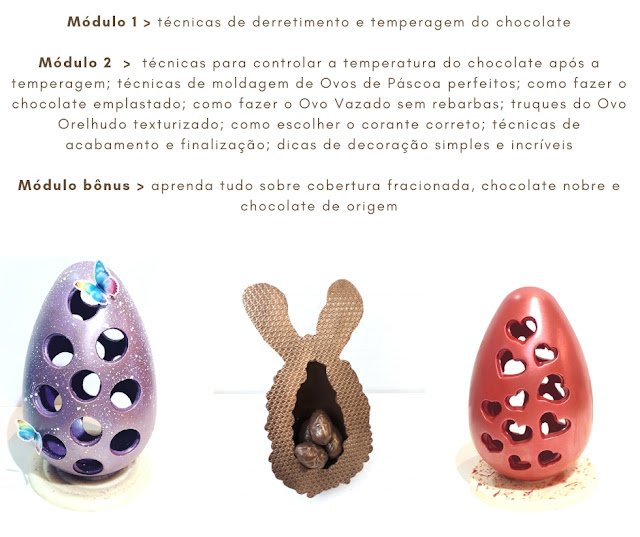 Curso online de Ovos de Páscoa Artísticos - Chokolateria Karla Alves Leal