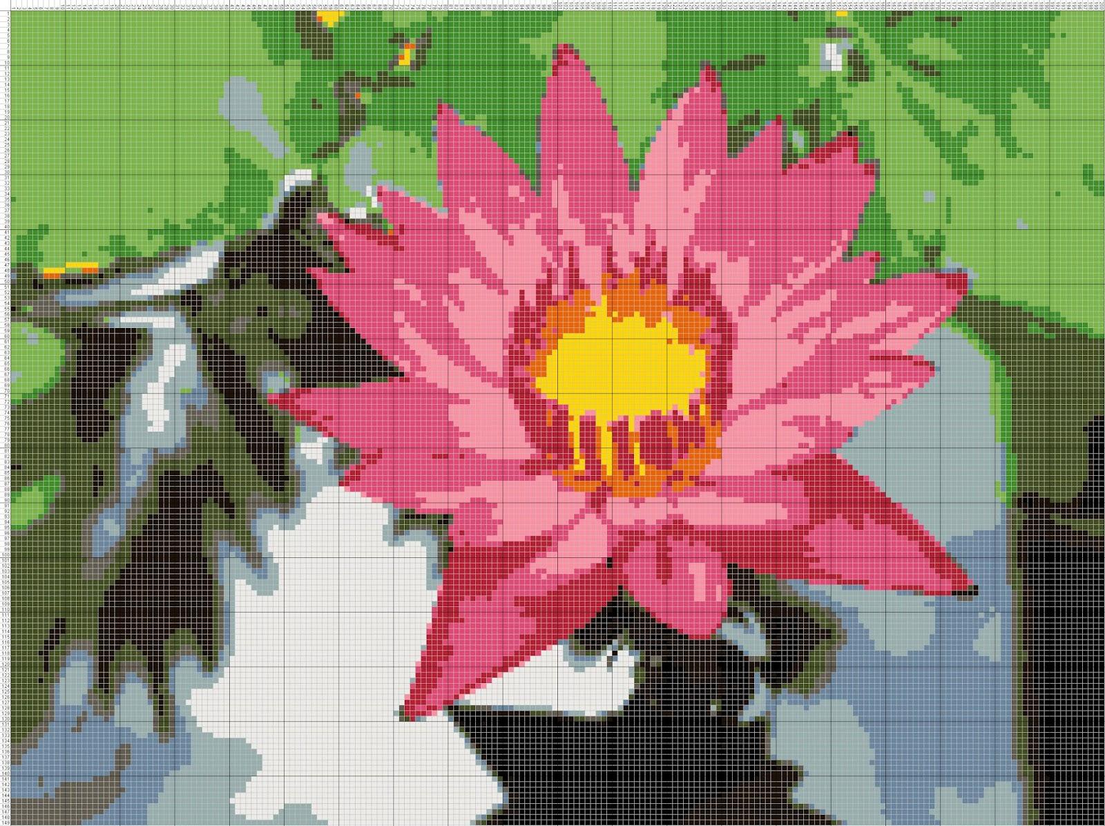 Gambar Pola Kristik Bunga Teratai Free Cross Stitch Pattern