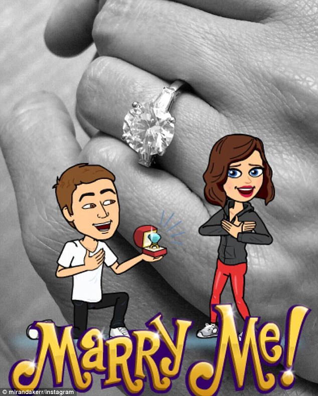 Miranda Kerr posted this image to Instagram which confirmed her engagement to Snapchat founder Evan Spiegel