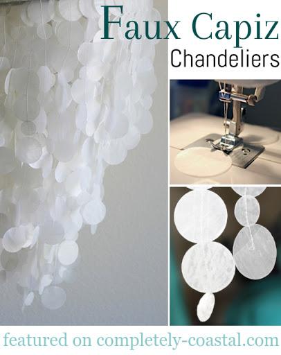 Faux Wax Paper Capiz Chandelier