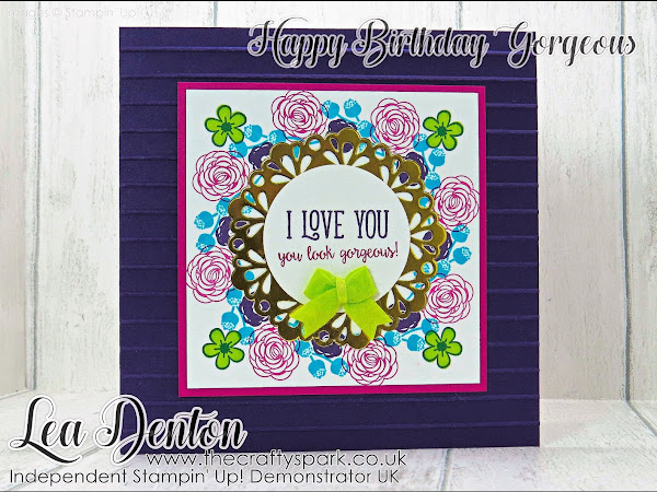 Stamping Sunday Blog Hop Happy Birthday Gorgeous Purple Wreath Card Stampin' Up!