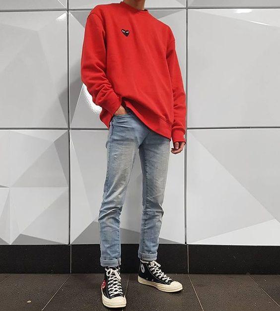 Vermelho Tendência Masculina Outono Inverno 2018