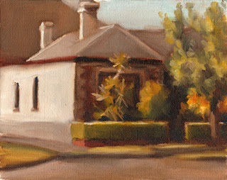 Oil painting of a Victorian-era house with bordered by trees and a box hedge.