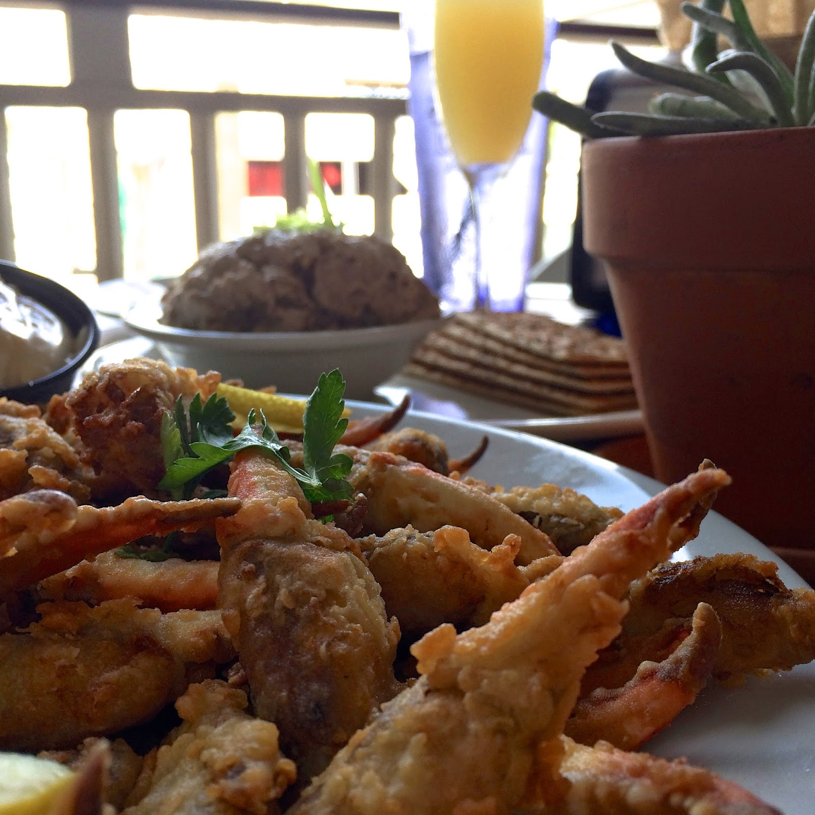 The fried crab claws and smoked tuna dip at Fisher's Brunch