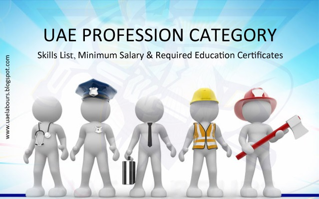 UAE Employment list with minimum required Salary & Certificates