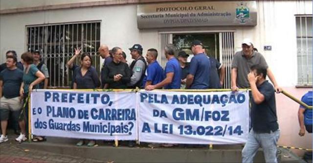 Guardas Municipais de Foz do Iguaçu (PR) protestam por plano de carreira
