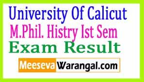 University Of Calicut M.Phil. Histry Ist Sem June 2017 Exam Results