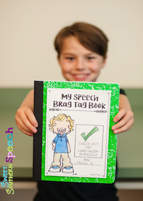 Great post on how to use brag tags in speech therapy!