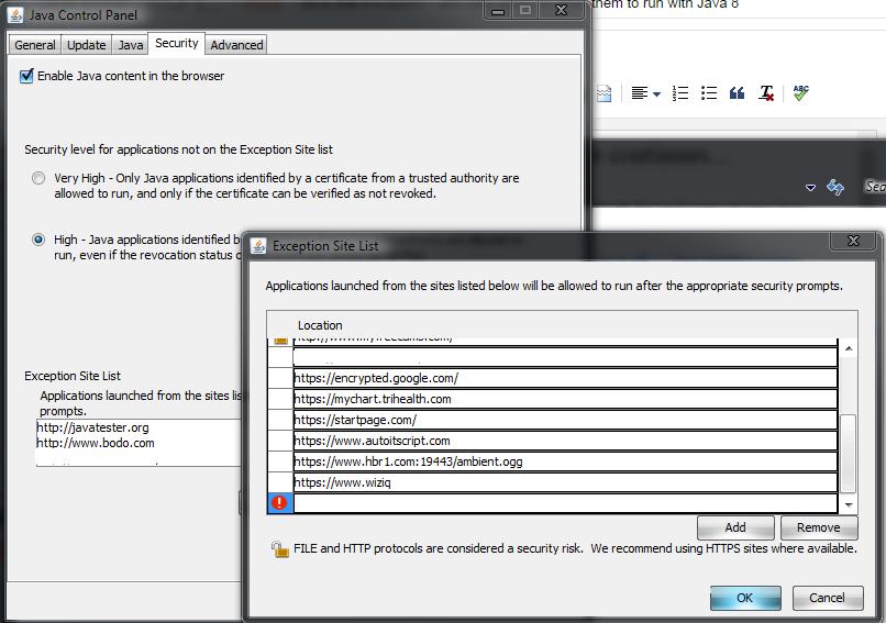 exception site list under control panel