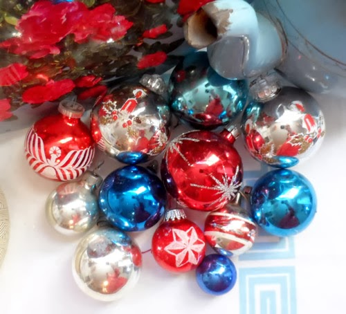 red white and blue christmas baubles