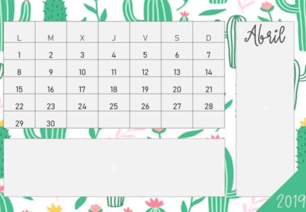 Calendario 2019 gratis en pdf gratis para niños