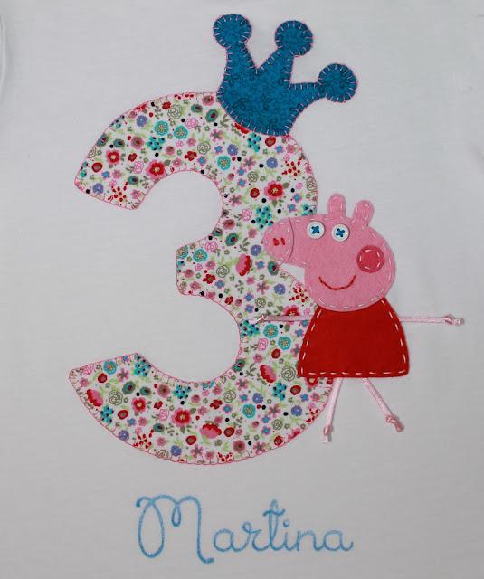 camiseta de cumpleaños 3 años peppa pig