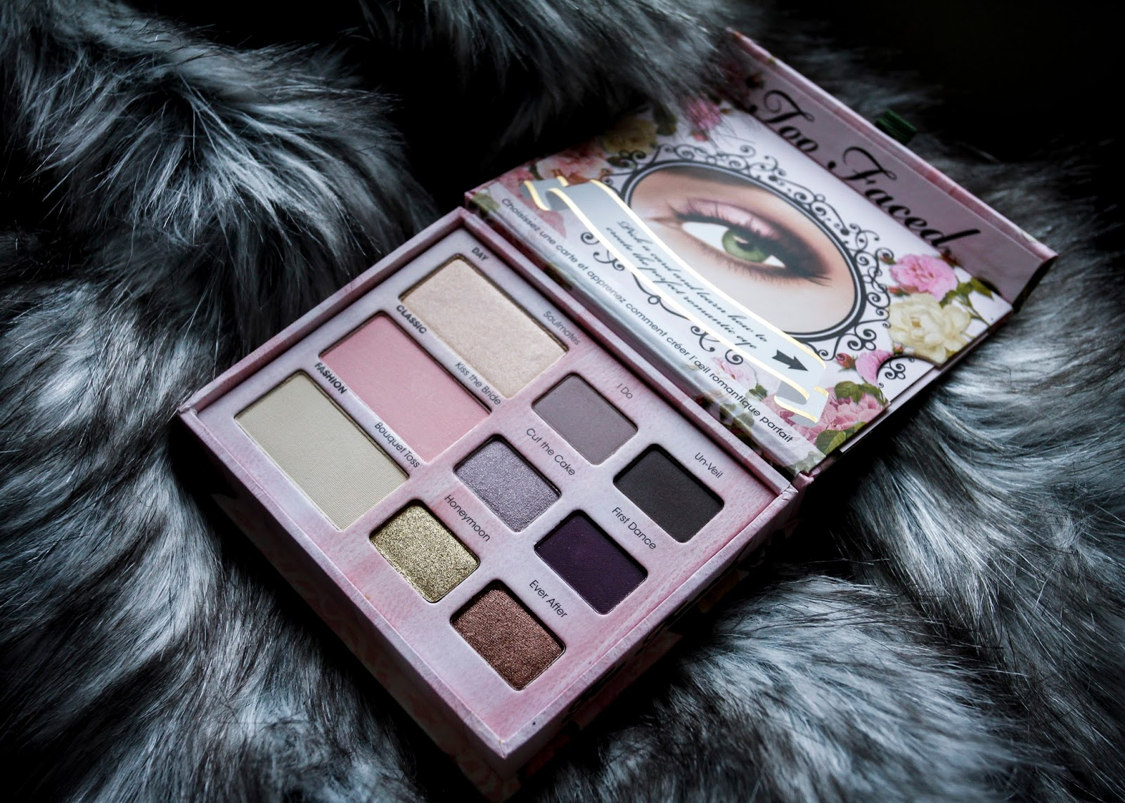 Too Faced Romantic Eye palette open on fake fur