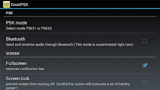 DroidPSK settings menu
