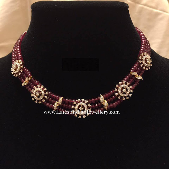 Diamond Clasps Ruby Beads Necklace Latest Indian