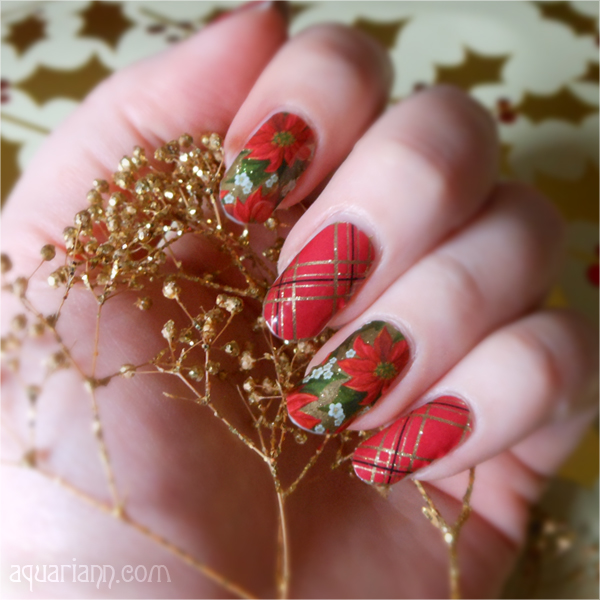 Tinsel Poinsettia Nail Art