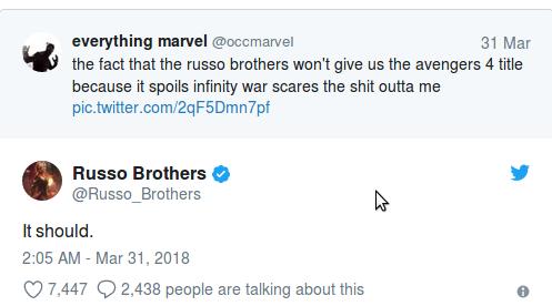 Руссо тизерят название Мстителей 4