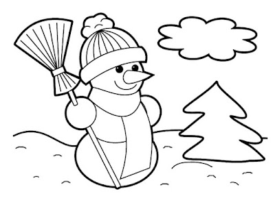 Snow Man Christmas Coloring Pages