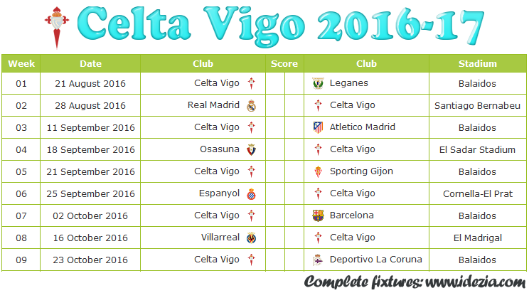 Download Jadwal Celta Vigo 2016-2017 File JPG - Download Kalender Lengkap Pertandingan Celta Vigo 2016-2017 File JPG - Download Celta Vigo Schedule Full Fixture File JPG - Schedule with Score Coloumn