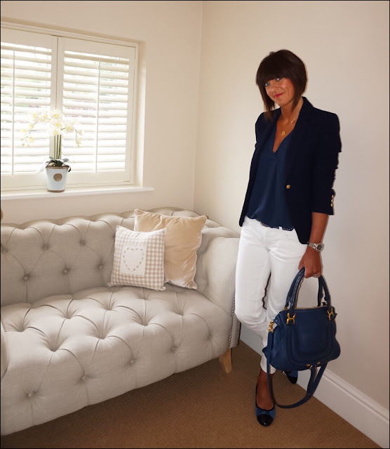 My Midlife Fashion, Zara single breasted navy blazer, white jeans, white cigarette length jeans, quilted ballet pumps, say what you c emoji necklace, chloe marcel bag