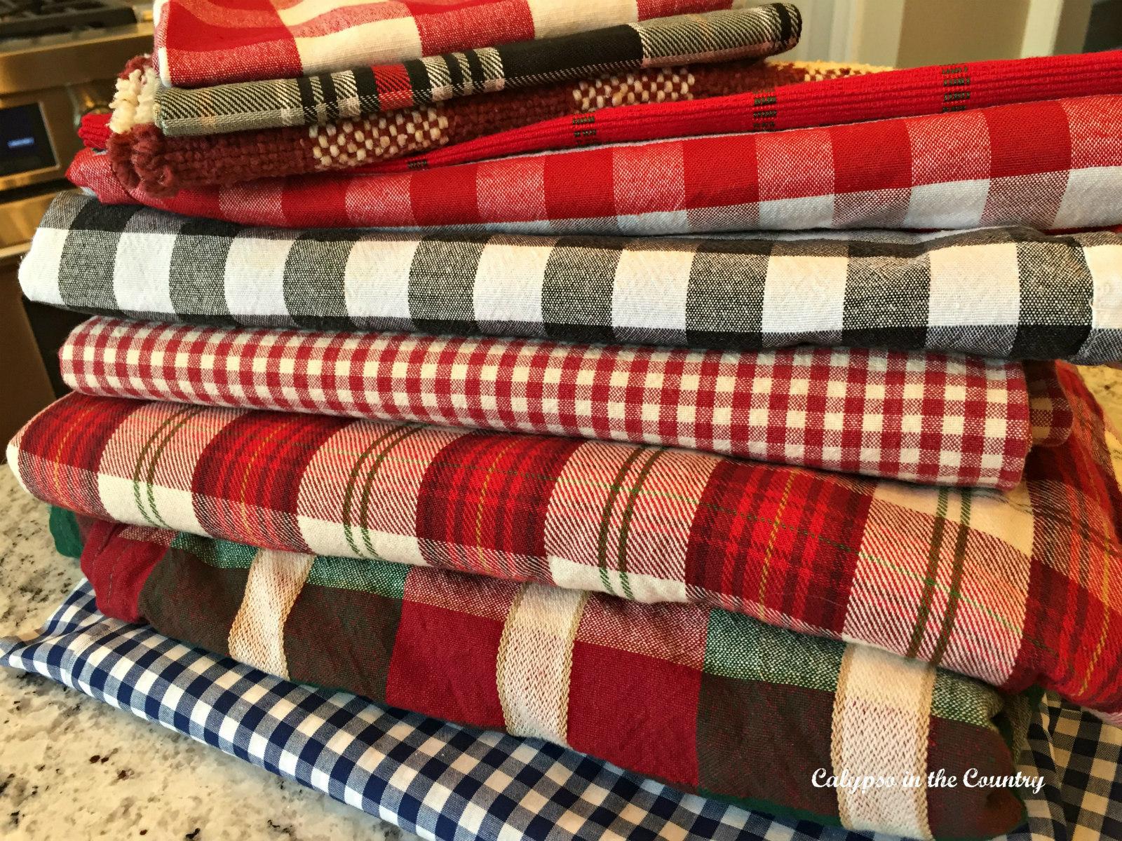 Pile of Plaid Tablecloths