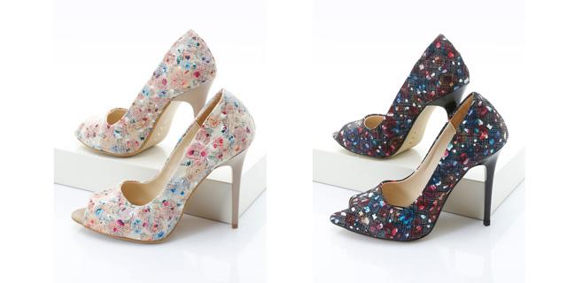 Pantofi decupati eleganti cu imprimeuri si toc inalt ieftini