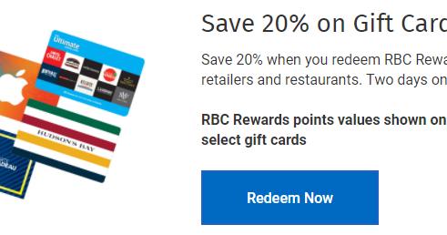 Canadian Rewards Rbc Rewards Save 20 On Gift Cards