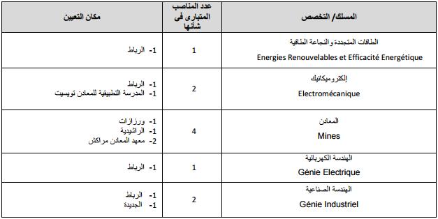 قطاع الطاقة والمعادن مباراة توظيف 10 مهندسي الدولة من الدرجة الأولى في عدة تخصصات. آخر أجل هو 02 شتنبر 2016