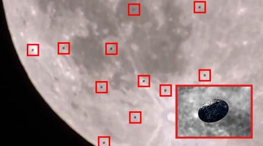 Flota de 38 OVNIs pasando cerca de la Luna es captado en vídeo