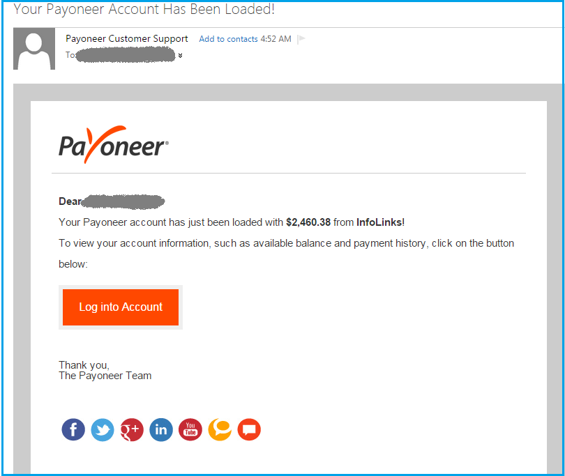 Infolinks Payment Proof $2 460 Via Payoneer