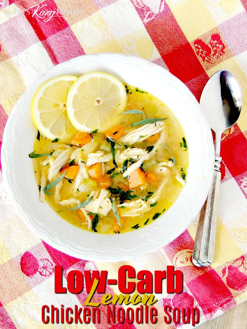 This low-carb, keto friendly lemon chicken noodle soup recipe is a riff on traditional Greek chicken soup with only 4 net carbs per serving! #chicken #soup #Greek #lowcarb #keto #easy #recipe | bobbiskozykitchen.com