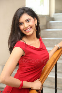 Mounika Telugu Actress in Red Sleeveless Dress Black Boots Spicy Pics 065.JPG