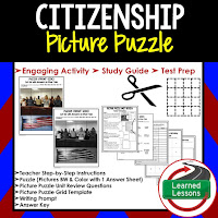 Citizenship, Civics Test Prep, Civics Test Review, Civics Study Guide, Civics Interactive Notebook Inserts, Civics Picture Puzzles