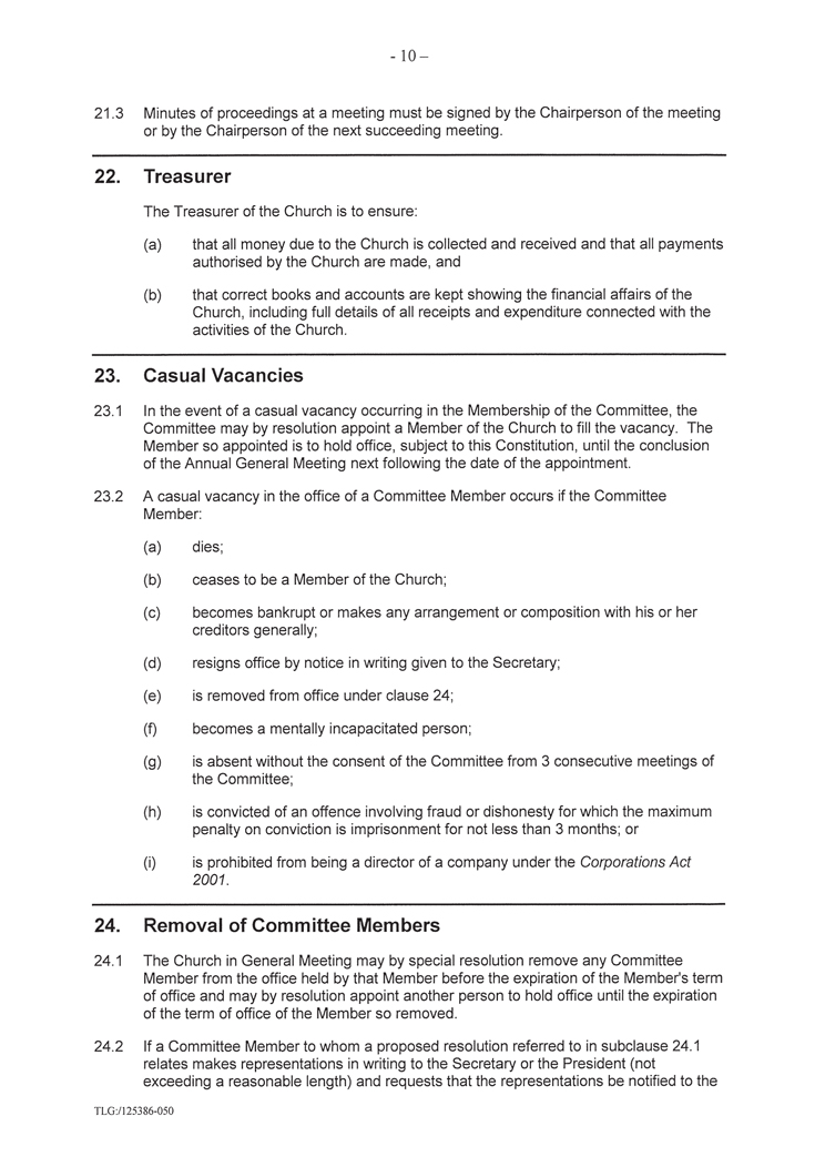 Constitution of The Congregation of the Enmore Spiritualist Church Incorporated