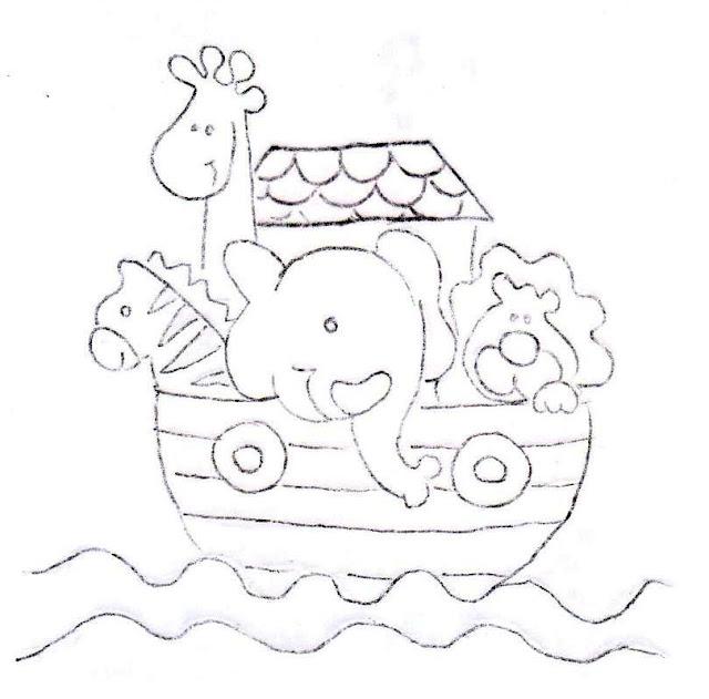 risco para pintar fralda arca de noé
