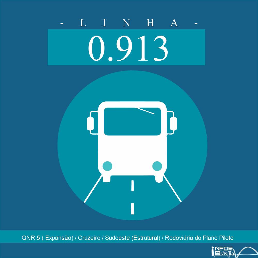 Horário de ônibus e itinerário 0.913 - QNR 5 ( Expansão) / Cruzeiro / Sudoeste (Estrutural) / Rodoviária do Plano Piloto
