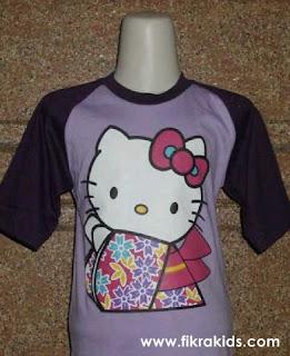 Kaos Raglan Anak Karakter Hello Kitty Ungu