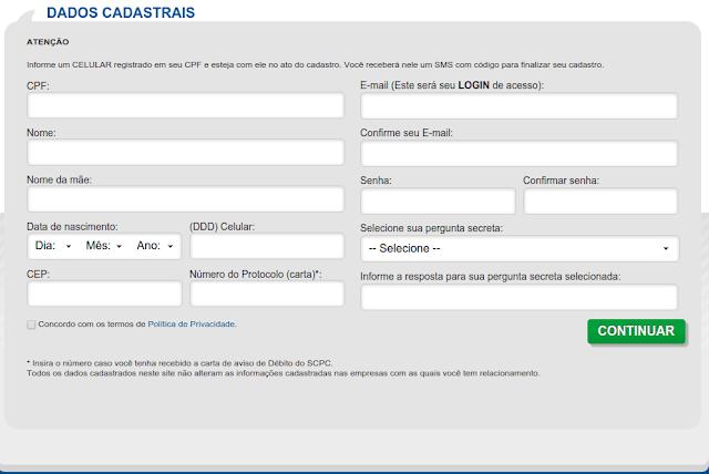Formulario de consulta ao Serasa.