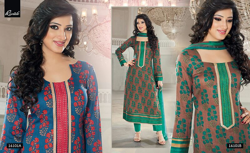 Rivaa – Glaze Cotton Salwar Suit With Chiffon Dupatta