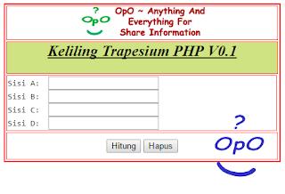 OpO - Menghitung Keliling Trapesium Dengan Menggunakan PHP Dan HTML