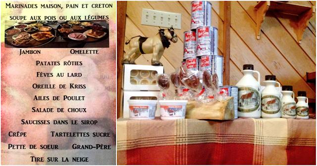 Menu et produits dérivés de l'érable de la cabane JaRo.