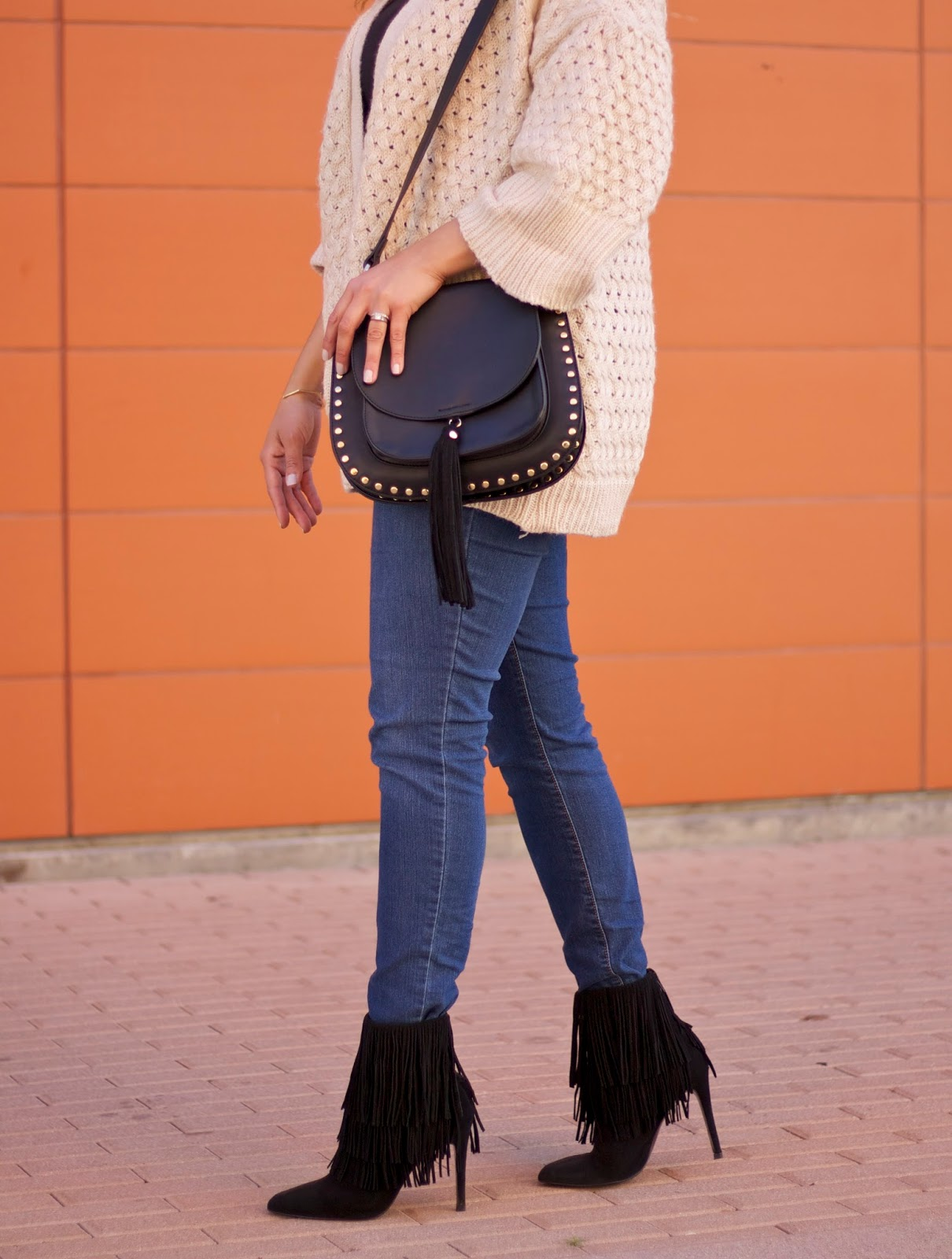Galian Handbags, black satchel crossbody, affordable handbags, what to wear with fringe booties