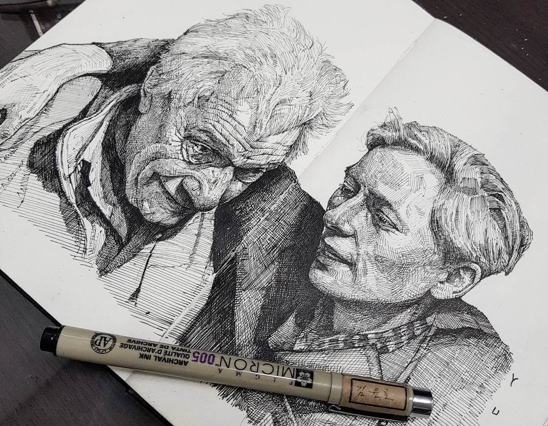 02-John-Berger-and-Tilda-Swinton-Yun-Ho-Kim-Expressions-in-Different-Pencil-Portrait-Styles-www-designstack-co